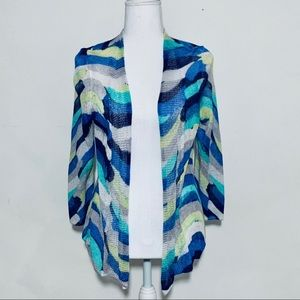 NIC+ZOE Open Knit Linen Hand Painted Cardigan PS